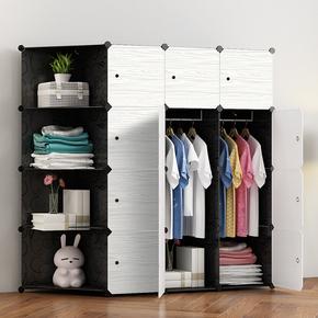 简易大衣柜简约现代经济型塑料组装成人衣橱收纳柜子清仓加固