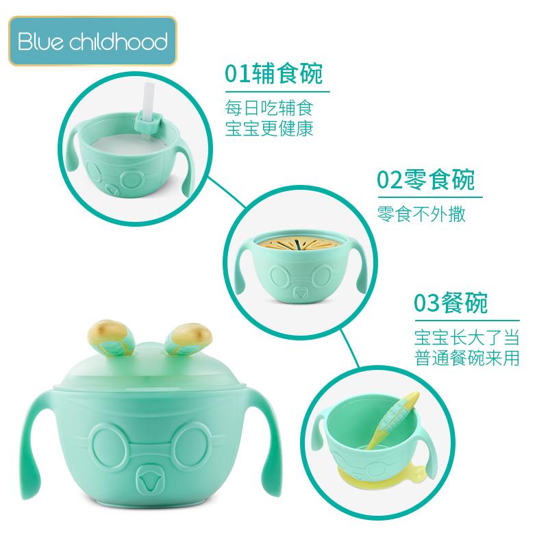 宝宝儿童餐具套装学吃饭训练勺子弯头吸盘吸管注水保温婴儿辅食碗