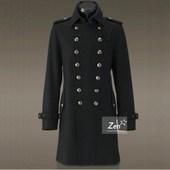 中长款 复古修身 春秋男翻领德国军装 羊毛呢子大衣双排扣毛呢外套潮