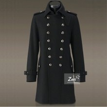 Spring and Autumn Men's Turn-collar German Army Dress Retro-vintage Body-building Long Wool Fabric Overcoat Double-row Button Wool Outerwear Moisture