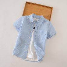 Summer thin cotton short-sleeved baby shirt for Boys Plaid half-sleeved children short-sleeved baby shirt for boys