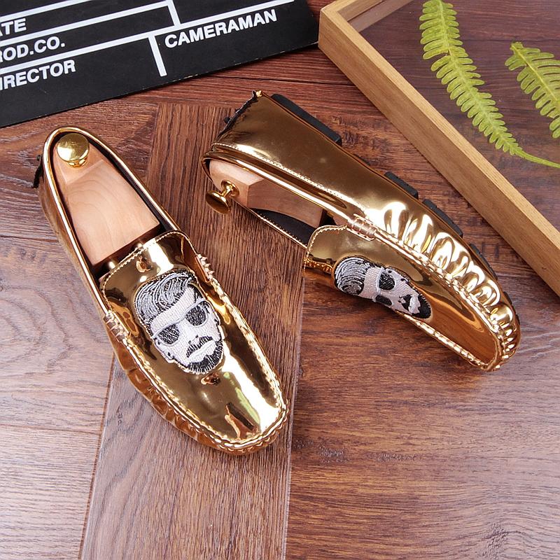 欧洲潮男刺绣豆豆鞋亮面个性休闲鞋豆豆漆皮男鞋皮鞋一脚蹬懒人鞋