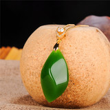 Spinach Green Jasper Pendant Female 925 Silver Inlay Hetian Jade Shaped Stone Pendant Pendant Necklace Silver Jade