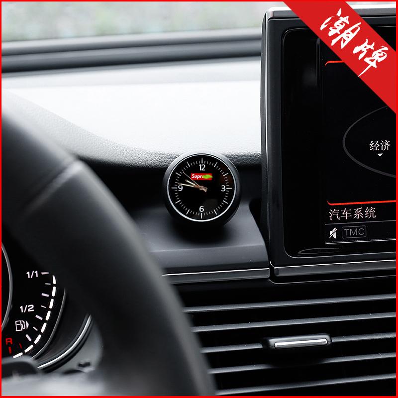 潮牌创意车载时钟表汽车电子表车内时间摆件饰品中控装饰改装用品