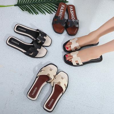 2017韩版H型拖鞋女夏时尚外穿室外平底平跟H一字拖学生沙滩凉拖鞋