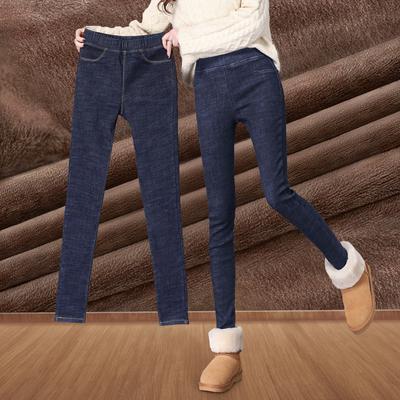 加绒牛仔裤女2019春装新款显瘦铅笔小脚裤高腰学生黑色外穿打底裤