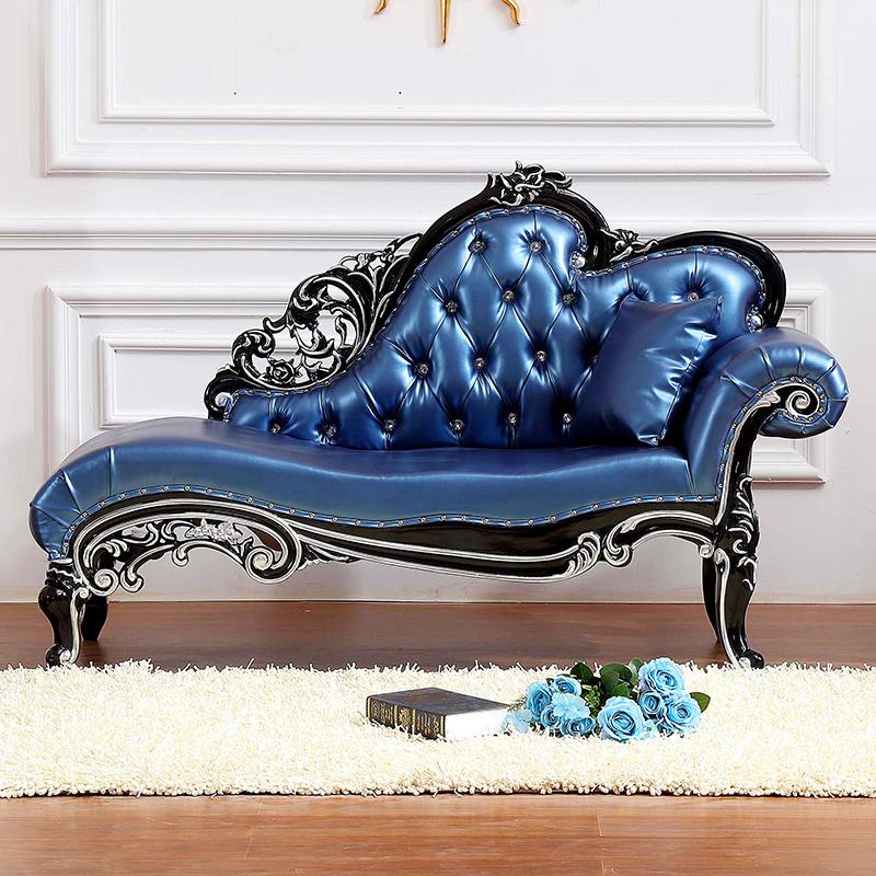 欧式新古典实木贵妃椅卧室躺椅皮质布艺沙发床美人榻美式简约家具