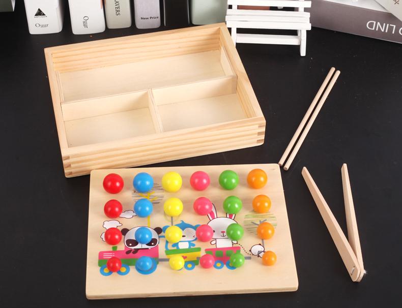 蒙台梭利儿童早教玩具3-4岁 益智小孩夹珠子夹弹珠玩具专注力训练