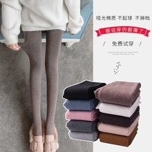 Autumn and winter underpants women wear the new style of fleeced warmth and thick style of 2018 wearing grey threaded cotton pants and black pantyhose