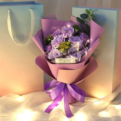 香皂玫瑰花礼盒仿真花束圣诞节送女友闺蜜创意礼物永生肥皂花包邮