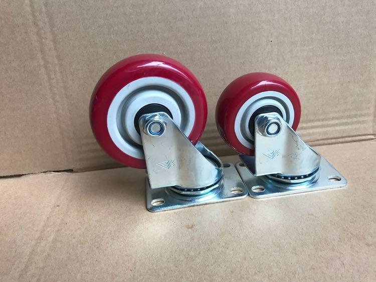 3寸4寸5寸重型聚氨酯尼龙橡胶万向轮脚轮子手推车脚轮平板车图片