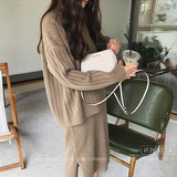 Pregnant women autumn and winter sweater loose suit fashion 2019 new knit bottoming shirt dress two-piece autumn