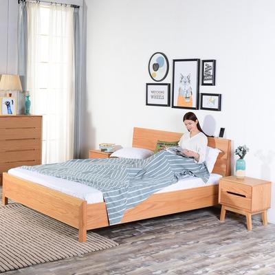 现代简约北欧红橡木床1.8米1.5米主卧家具纯全实木双人床简欧风格