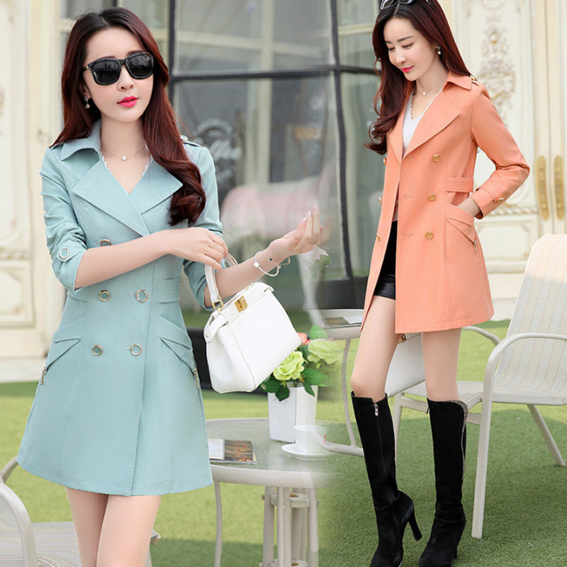 2018 spring and autumn new windbreaker female long section Korean version of the slim slimming large size