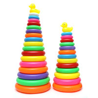 Children's Jenga baby layered rainbow ferrule infant early education set tower pile pile music stacking educational toys