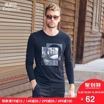 英爵伦 2018秋季男装新品 时尚休闲个性图案 欧美流行圆领长袖T恤