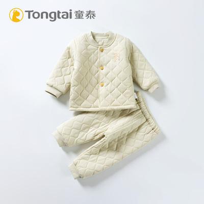 童泰婴儿立领薄棉套装纯棉宝宝保暖薄棉服秋冬季 彩棉面料
