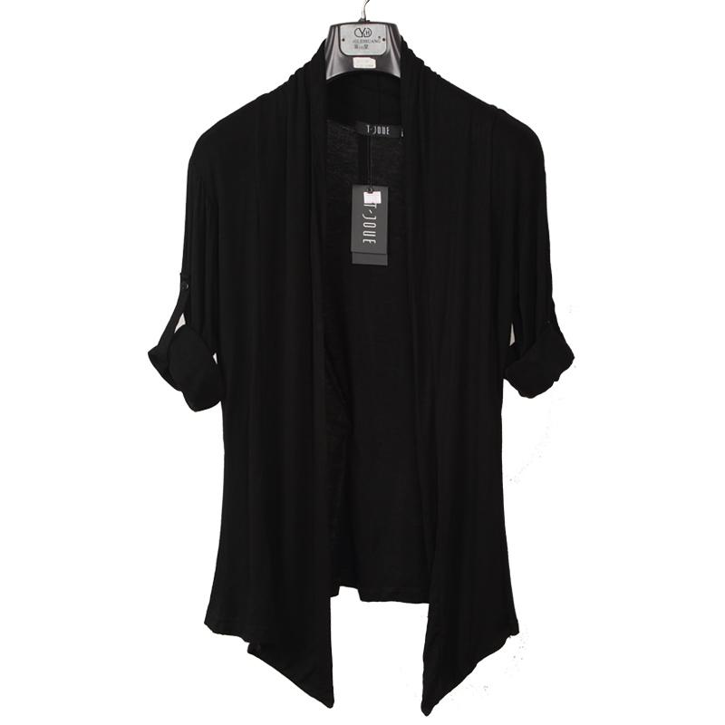 夏装男士中长款开衫薄款韩版修身长袖线衫男装防晒衫外套潮空调衫