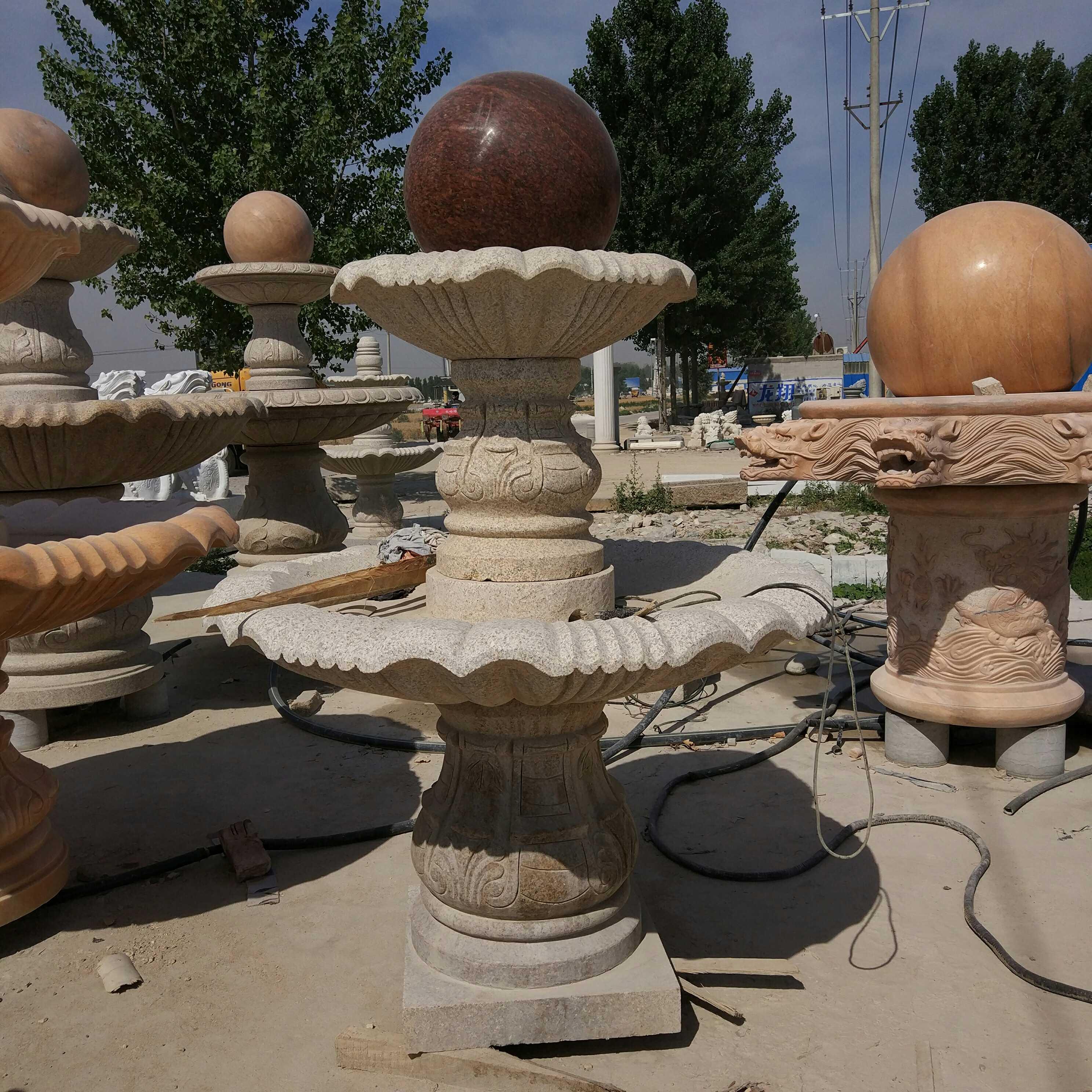 石雕大小型喷泉花盆公园学校小区广场庭院风水喷流水摆件室全新