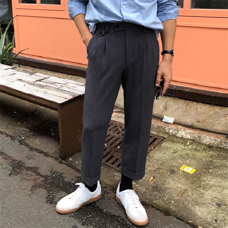 东大门韩国男装代购精致百褶扎线造型素雅宽松九分小直筒休闲裤