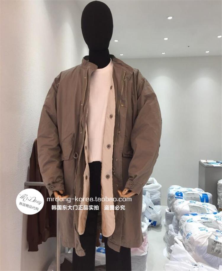 东大门韩国男装代购时尚纯色阔版垂坠宽松大码潮搭棉服大衣外套