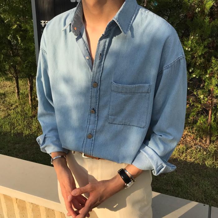 东大门韩国男装代购手工泛白水洗宽松落肩翻领牛仔布衬衫衬衣0903