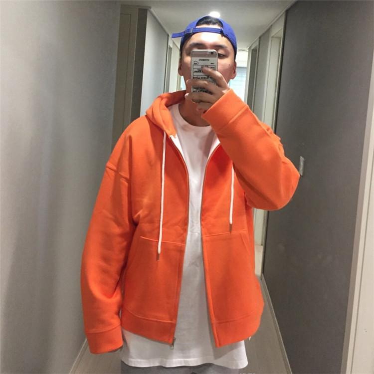 东大门韩国男装代购纯色轻奢面料连帽开衫卫衣外套落肩帽衫90820