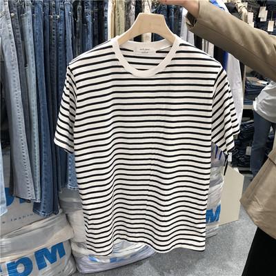 东大门韩国男装代购直播款式清新细条纹棉质宽松短袖T恤190502
