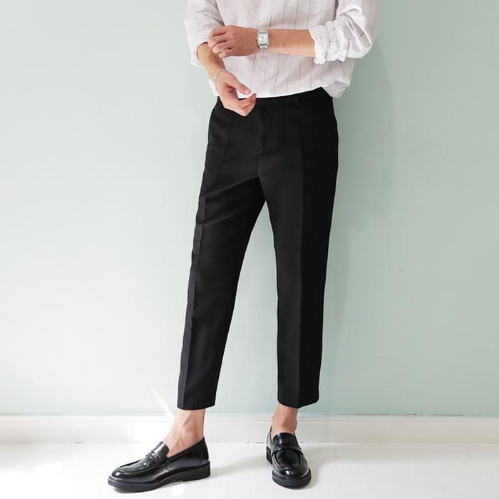 东大门韩国男装代购轻奢精致车线锥形九分潮搭修身小脚休闲裤西裤