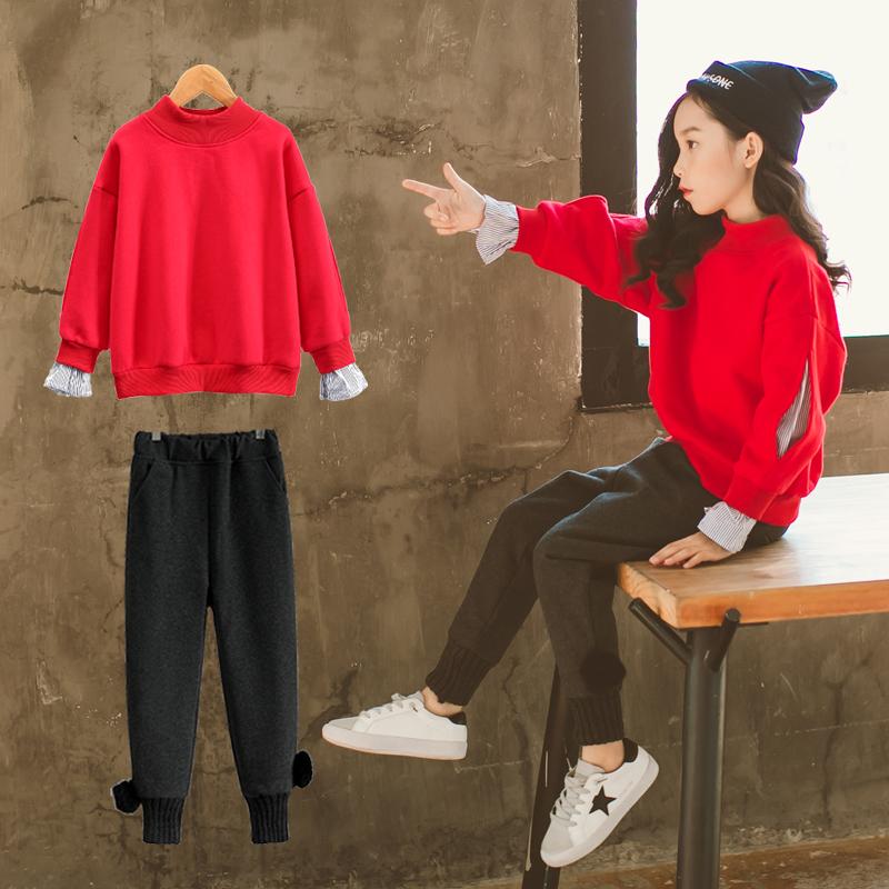 女童冬装洋气套装2017新款韩版时尚儿童冬季卫衣服加绒加厚两件套