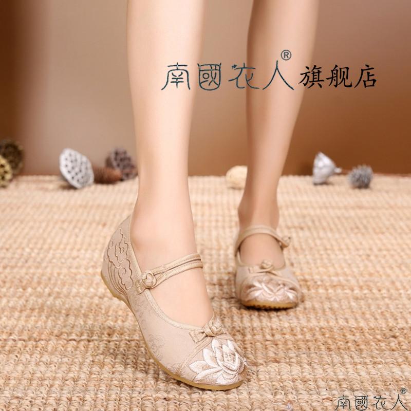 坡跟花布鞋