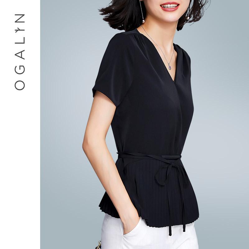 欧茄林衬衣女2018新款夏装短袖系带收腰上衣气质显瘦V领雪纺衬衫