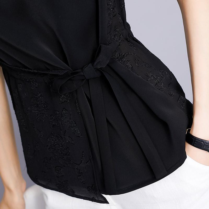欧茄林蕾丝上衣女夏2018新款系带雪纺衫短袖收腰显瘦超仙时尚小衫