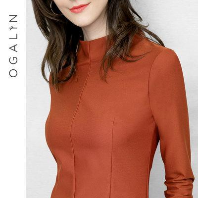 2018秋装新款半高领打底衫女长袖百搭修身显瘦套头上衣女款小衫Q