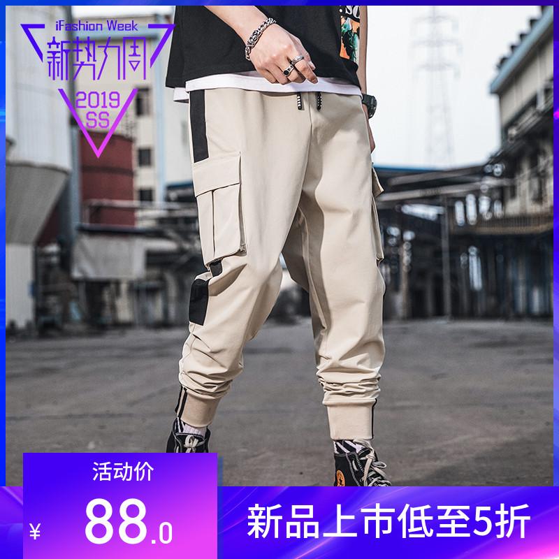 2019新款夏季新款 大码工装裤撞色多口袋嘻哈束脚裤九分裤男  学