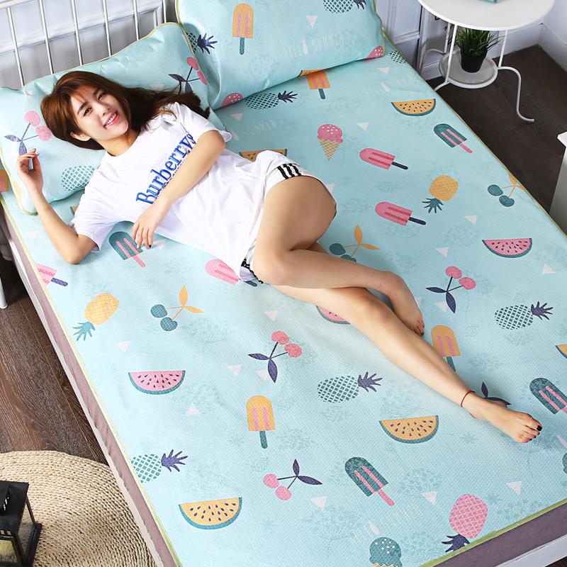 夏季卡通冰丝席子单人宿舍学生凉席1.5米1.8m床折叠空调软草席1.2