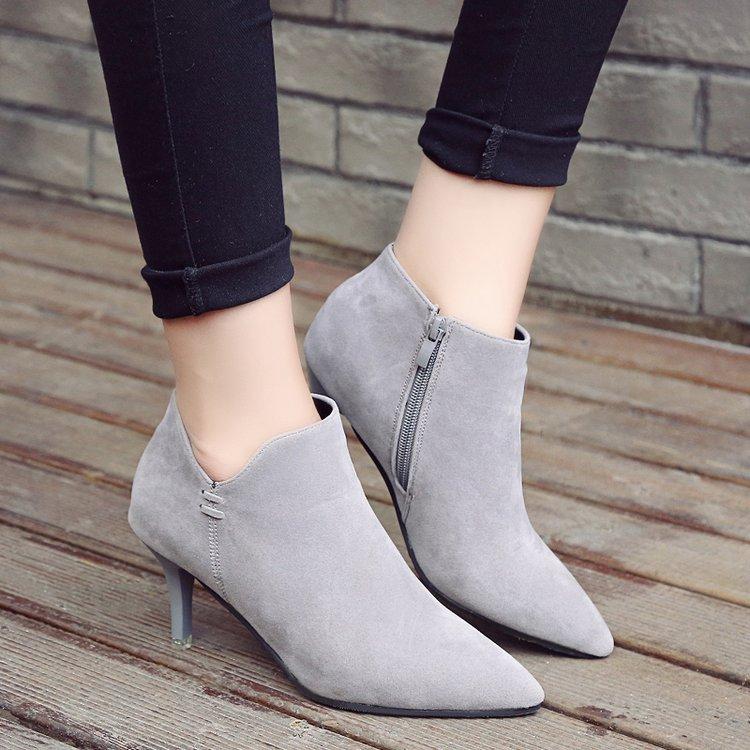 裸靴女鞋加绒新款秋冬尖头高跟短靴女细跟骑士靴冬马丁靴性感女靴