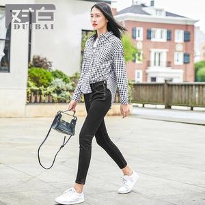图片:对白脚口开叉深色铅笔裤子2018秋季新款修身简约小脚弹力牛仔裤女