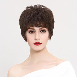 瑞贝卡假发女短发短卷发自然斜刘海真人发丝中老年妈妈整顶假发套