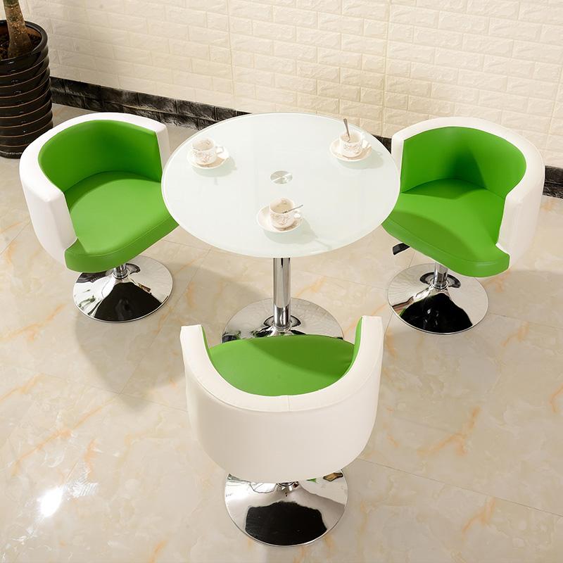休闲会客桌办公商务洽谈椅烤漆小圆桌钢化玻璃一桌三椅小户型组合