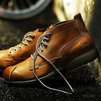 马丁靴男靴秋冬头层牛皮高邦真皮工装靴子英伦中筒高帮鞋圆头短靴