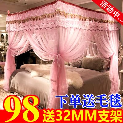 新款网红加密加厚宫廷蚊帐1.5/1.8m2米床2.2双人家用不锈钢支架