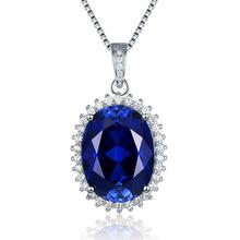 王妃椭圆形坦桑蓝宝石项链坠子女吊坠锁骨奢华纯银百搭彩宝不掉色