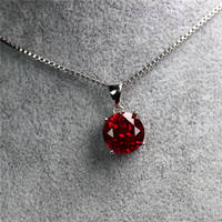 Round single stone necklace pendant Burmese ruby ​​pendant clavicle sterling silver plated 18K rose gold color treasure jewelry