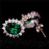 Wang Hao emerald green earrings retro emerald color treasure sterling silver plated 18K gold tide temperament female earrings hypoallergenic