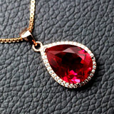 Ruby Drop Pendant Necklace Lady Sweet with Clothes Sterling Silver Inlay Colored Gemstone Jewelry Pendant