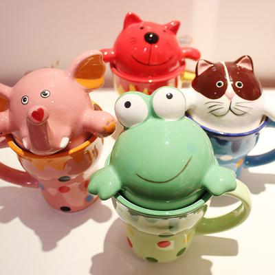 仟度彩绘杯 可爱动物水杯陶瓷大容量马克杯咖啡杯 情侣儿童牛奶杯