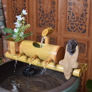 陶瓷流水喷泉摆件风水轮竹子创意水车鱼缸家居客厅办公室桌面石槽