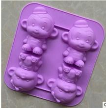 肥皂模具 4连猴子机制模 饰模 蛋糕装 果冻布丁
