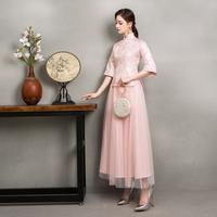 Chinese bridesmaid dress female sisters group dress 2019 new spring folk style retro style Chinese style cheongsam